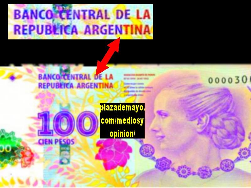 Los billetes de 100 pesos con la imagen de Evita tiene impre