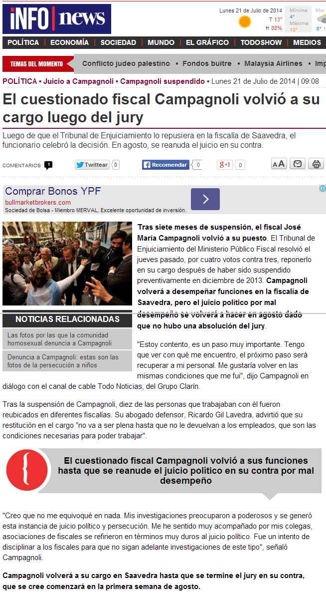 El cuestionado fiscal Campagnoli