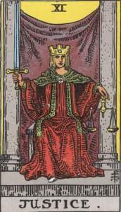 La carta once del Tarot que representa la justicia