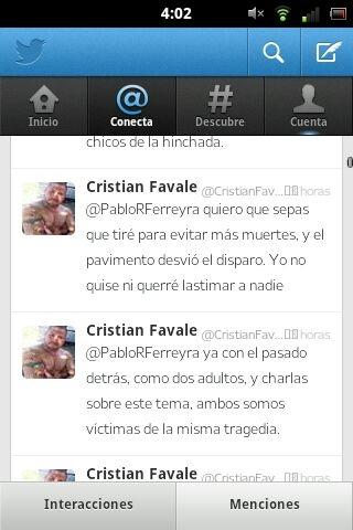 Twitt dirigido al hermano de Pablo Ferreyra desde cuenta apócrifa.