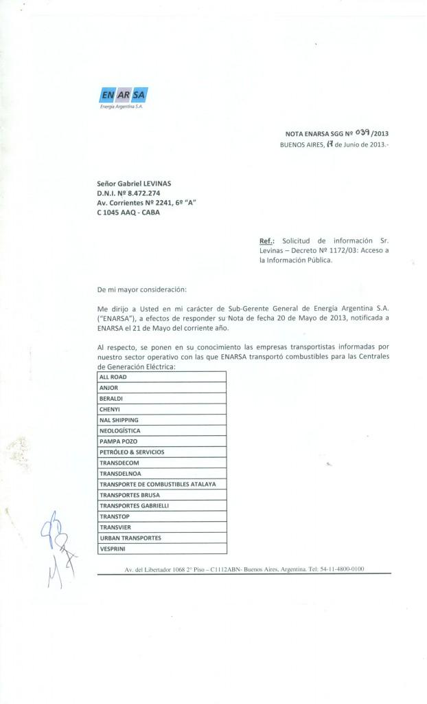 Pedido de información oficial a ENARSA