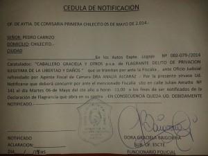 Denuncia de privación ilegítima de libertad contra el dirigente docente Pedro Carrizo.