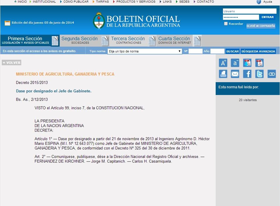 Decreto que designa a Espina. Coincide el DNI con el de la lista del 601.