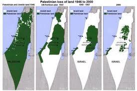 Evolución del avance del Estado de Israel sobre los territorios palestinos.