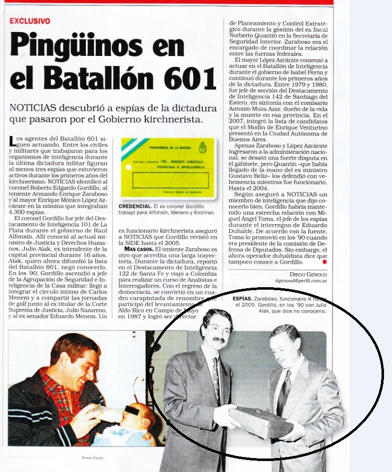 En el círculo, Gordillo junto al actual ministro Julio Alak.