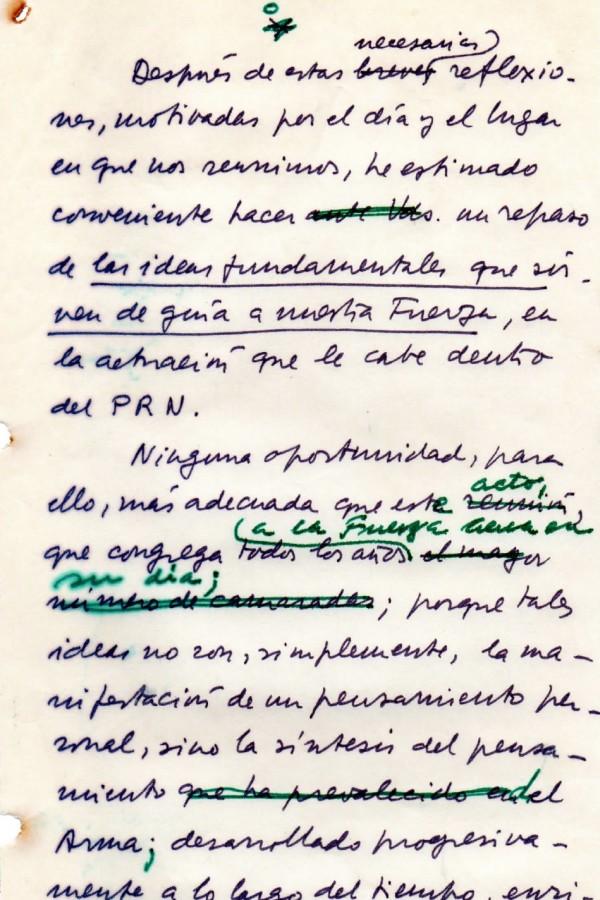 Manuscrito del discurso de D.R. Graffigna