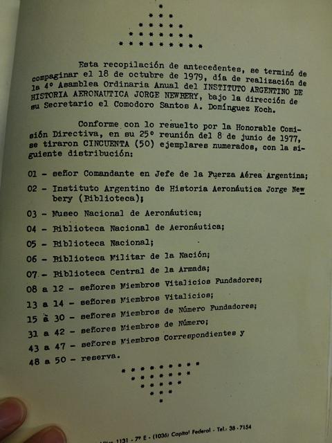 Lista de distribución de los 50 ejemplares realizados